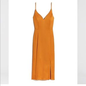 New Express Burnt Orange Satin Dress 6
